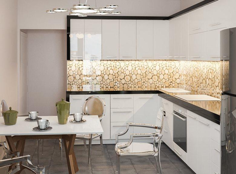 Дизайн кухни угловой планировки в эко стиле