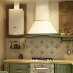 Открытая газовая колонка в интерьере кухни