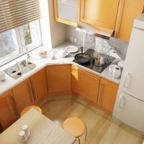 Дизайн кухни с мойкой в подоконнике