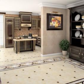 Фарфоровая посуда в кухонном комоде