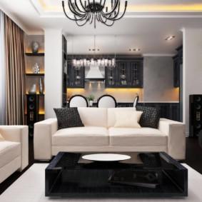 Контрастная мебель в кухне-гостиной