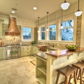 Дизайн кухни с П-образной планировкой