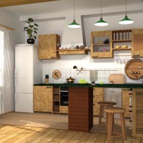 Дизайн линейной кухни с барной стойкой