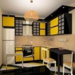 Угловая кухня в желто-черном цвете