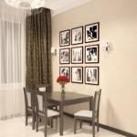 Декор фотографиями стены в обеденной зоне кухни