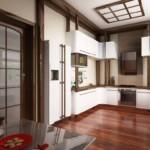 Лакированная поверхность пола на кухне