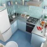 Голубая плитка на кухонном полу