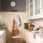 Часы на серой стене кухни в городской квартире