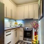 Узкая кухня со шкафами до потолка