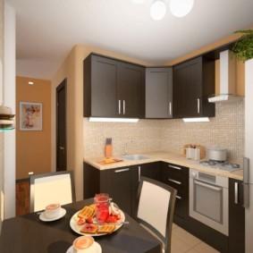 Дизайн угловой кухни с обеденным столом