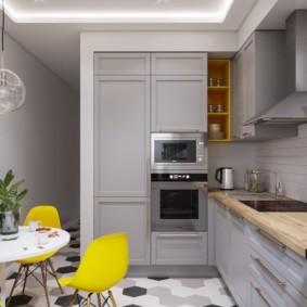 Г-образная кухня прямоугольной формы