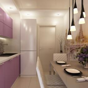 Кухня 9 кв метров с белым холодильником