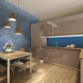 Дизайн кухни с обоями в обеденной зоне