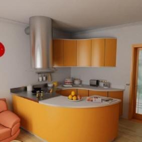 Оранжевый гарнитур в кухне-гостиной