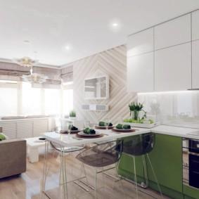 Яркое освещение в кухне-гостиной