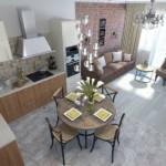 Вид сверху на кухню-гостиную в современном стиле
