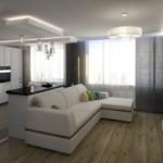 Светлый диван угловой формы