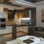 Дизайн кухни с наклонной вытяжкой