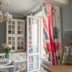 Британский флаг на кухонных занавесках