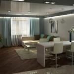 Дизайн кухни-гостиной с точечными светильниками