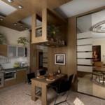 Большое зеркало в кухне-гостиной