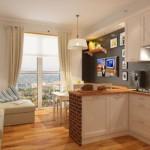 Барная стойка в виде полуострова в кухне с балконом