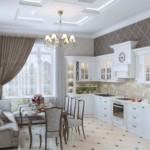 интерьер кухни-гостиной с угловым гарнитуром