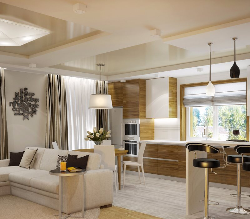 фото дизайна гостиная вместе с кухней меню выполнено