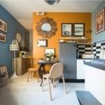 Зонирование цветом стен пространства кухни-гостиной