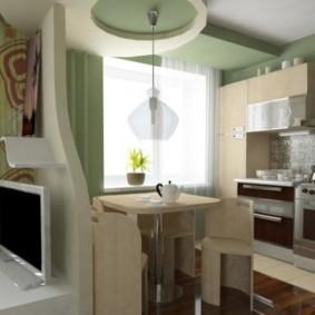 Многоуровневый потолок в рабочей зоне кухни