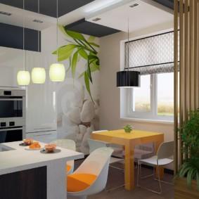 Деревянная перегородка между кухней и гостиной