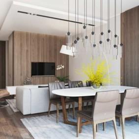 Подвесные светильники над кухонным столом