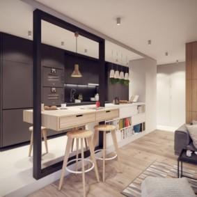 Стильная барная стойка в современной кухне
