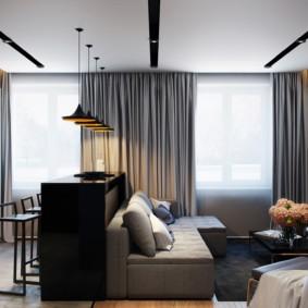 Серые шторы в интерьере стиля минимализм