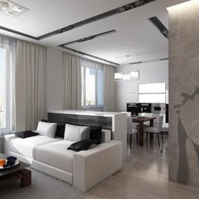 Белый диван прямой формы