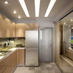Раздвижная перегородка в кухне-гостиной