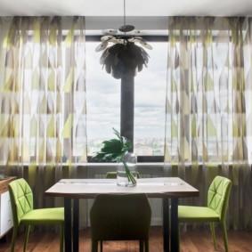 Обеденная зона кухни-гостиной в стиле эко-лофт