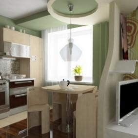 Зонирование перегородкой кухни-гостиной
