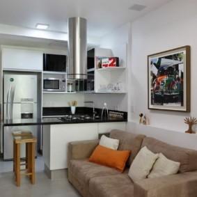 Узкая кухня гостиная в городской квартире