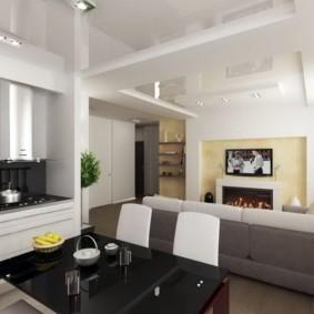Двухуровневый потолок белого цвета