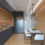 Линейная кухня с серыми фасадами