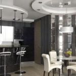Дизайн кухни с многоуровневым потолком