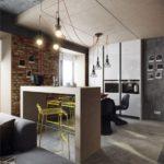 кухня хай-тек с элементами лофт стиля