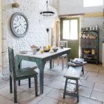 Большие часы в интерьере кухни