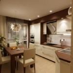 Угловая кухня в кофейных тонах