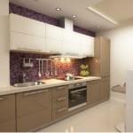 Мозаичный фартук в линейной кухне