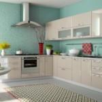 Бирюзовые стены кухни с угловым гарнитуром