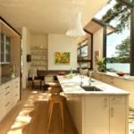 Большие окна кухни с островом