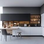 Черно-белая кухня в духе минимализма