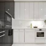 Серо-белая кухня в стиле минимализма